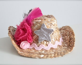 Light Pink, Hot Pink and Brown MINI Cowgirl Straw Hat/Headband - made to match the Cowgirls Rule Tutu