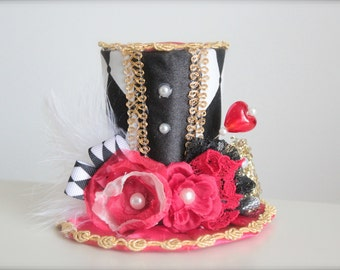 Queen of Hearts Inspired Alice in Wonderland Mad Hatter Tea Party -  Mini Top Hat Headband - Perfect  First Birthday Photo Prop