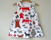 Baby toddler girl dress woodland pinafore jumper dress