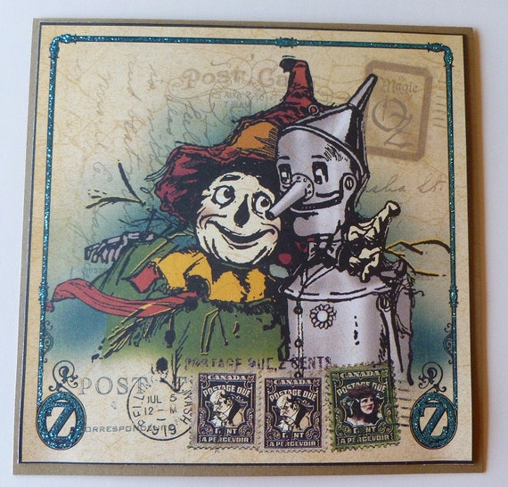 Handmade Vintage Wizard of Oz Card - Scarecrow and Tin Man- Ready to Ship