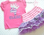 Personalized Pink and Purple Chevron Polka Dot Princess Birthday Outfit Including Quadruple Ruffled Tulle Skirt