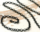 Matte Black Chain 4mm Rolo Chain, Black Brass Belcher Chain, Flat Wire Round Link Cable Solid Brass