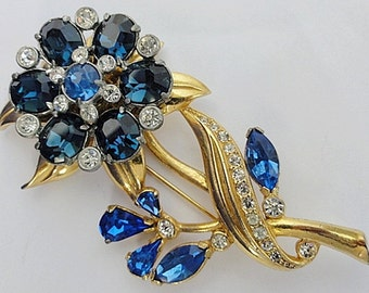 Outstanding Huge 1940's Brooch 3 3/4 Inches Layered Floral Brooch Saphire Blue and White Rhinestones