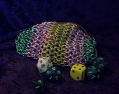 Discounted - Fluttershy inspired Chainmaille Dice Bag