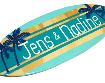 Beach Wedding Sign - Personalized Surfboard Sign for your Coastal Wedding Decor - 18 inch