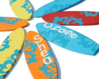 Surfboard Party Favors, Beach Wedding Decorations, 6.5 inch Mini Surfboards, Surf Party Decor, Luau Party, Beach Party Favors - Set of 7