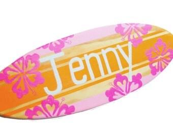 Personalized Teen Room Decor, Surfer Girl Surfboard Art, Beach Themed Wall Art, 18 inch