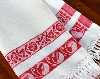 Vintage Linen Display Towel Show Damask Fringe Red White Art Deco Modern