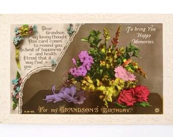 Postcard, Antique Postcard, Vintage Postcard, Birthday Postcard, 1900s Birthday Card, 1800s Birthday Card, Collectable Birthday Card (20)