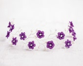 51_Purple flower crown, Hair accessories, Flower crown, Silver head piece, Hair piece flower, Circlet of flowers Violet wedding Flower tiara