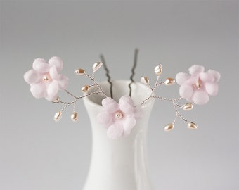 82_Floral hair pin, Hair pin flowers, Pink flower hair pins, Hair flowers, Hair accessories, Hair pins with flowers, Pearl hair pins, Bridal