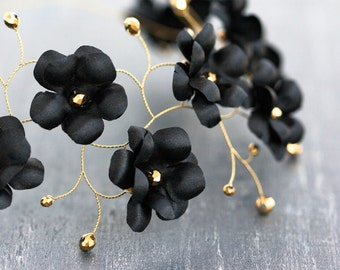 54_Black flower crown, Gold hair accessories, Circelt of flowers, Headband flowers, Floral hair accessories Wedding hair pieces Wedding halo