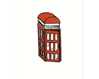 British Style Phone Booth 5 x 7 Art Print - Illustrated Print, England Print, UK Print, Telephone Booth Print, Red Decor, British Print