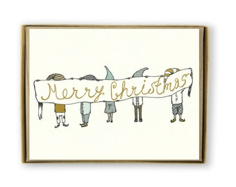Christmas Card Set - Merry Christmas Elves with Sign - Illustrated Christmas Card Set - blue, gold