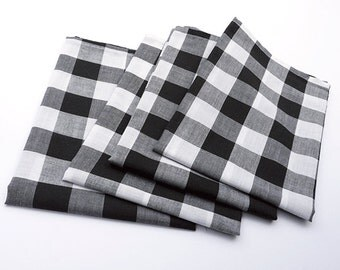 Cloth Napkins - Large Black and White Gingham Cloth Napkins - Buffalo Check - Set of 4 - Dinner Napkins