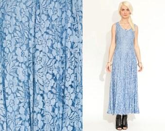 Vintage Baby Blue LACE SHEER Maxi 90s Dress // Boho Hippie //