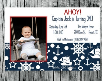Captain Nautical Theme 1 Year Old Birthday Party Invitation-DIY Printable