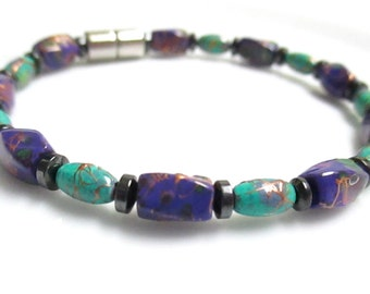 Magnetic Hematite Bracelet With Purple And Green Picasso Beads