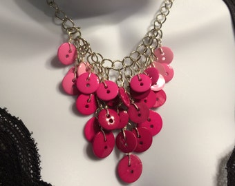 Cascading Button Necklace in Pink