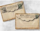 Digital Collage Sheet Download - Vintage Postcard Envelopes -  946  - Digital Paper - Instant Download Printables