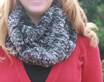 "Infinity Scarf - Handmade- Black and White ""Crochetted"" Minky-  Loop Scarf -  Minky- Cozy Super Soft Scarf-"
