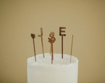 Custom Laser Cut Cake Topper Initials and Hearts