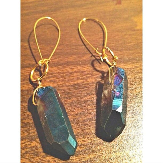 handcrafted blue titanium quartz crystal point dangle earrings, gold hoops.