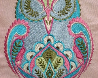 Extra Large Embroidered Tula Pink Full Moon Forest Owl Quilt Block, Quilt Square, Iron On Patch, or Sew On Patch, You Choose