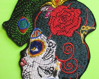 Beautiful Embroidered Katrina Sugar Skull Applique Patch, Day of the Dead, Dia de los Muertos, Hispanic, Mexican, Mexico, Iron or Sew On