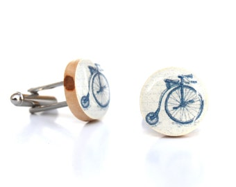 Mens bicycle cuff links Gift for men wood bicycle cufflinks wood bike retro cufflinks 5th anniversary gift eco friendly mens accessory