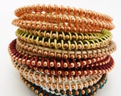 Made to Order / pearlized white leather copper finish / Ballchain friendship wrap stacking bracelet /  Customized Build Your Own