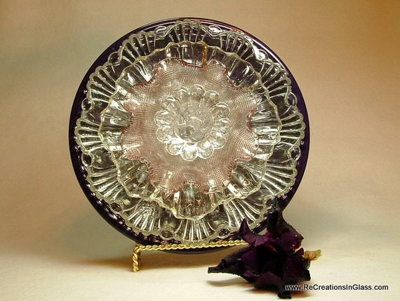 Gorgeous glass amethyst garden art flower or candle holder made with repurposed upcycled glass.