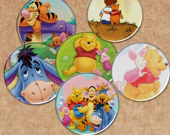 """Winnie Pooh - INSTANT DOWNLOADS -1inch Circles - Digital Collage Sheet -  1"""" Bottle Cap Images"""