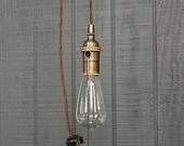 Industrial Bare Bulb Pendant Light, Pull Chain Socket Lighting, Edison Bulb Light Fixture, Vintage Antique Style Steampunk Hanging Pendant