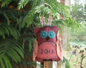 Owl wool-blend felt ornament 2013