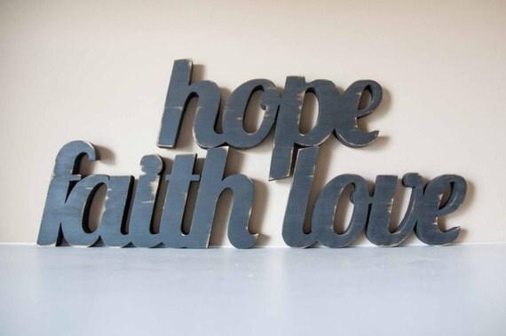 Faith, Hope, Love wooden word sign, 1 Corinthians 13, Home Decor