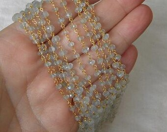Aquamarine Rosary Chain 1 1/2 Ft Gold on Sterling Vermeil Wire Chain 3.5mm Faceted Semiprecious Gemstone Beads Take 10% Off Jewelry Supplies