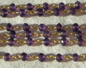 Purple Amethyst Rosary Chain Beads 8 to 18 Inches Gold Vermeil Wire Chain 4mm Semiprecious Faceted Gemstone Chain - 10% Off Jewelry Supply