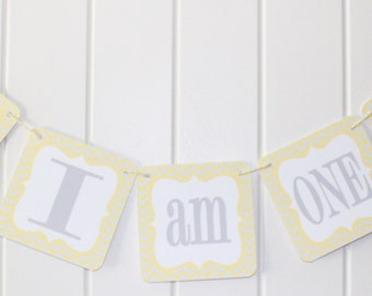 "MOD OWL Theme ""I am One"" Highchair Banner Yellow Gray - Party Packs Available"