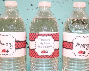LITTLE LADYBUG Themed Water Bottle Labels Set of 12 {One Dozen} - Party Packs Available