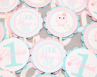 LOOK WHOOO'S... OWL Theme Birthday or Baby Shower Cupcake Toppers Set of 12 {One Dozen} Pink Aqua - Party Packs Available