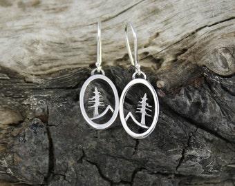 Tree and Mountain Earrings