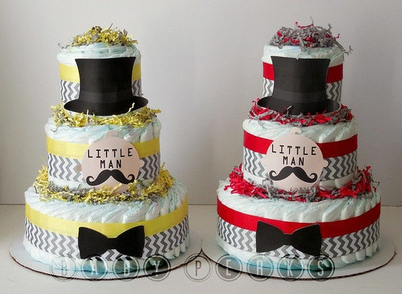 9 Color Designs - Little Man Diaper Cake, Mustache Baby Shower , Mustache Party , Baby Shower Decorations