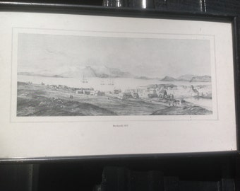 Vintage framed print view of Reykjavik1835