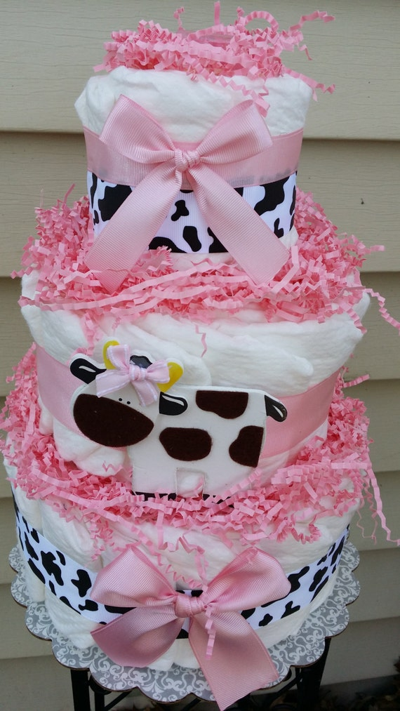 Cow 3 tier diaper cake pink baby shower for Baby shower diaper decoration