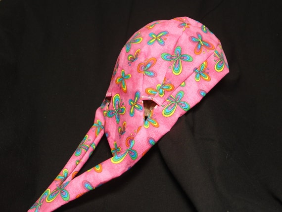 Butterfly Quality Doo Rag With Double Fabric HeadbandPink And