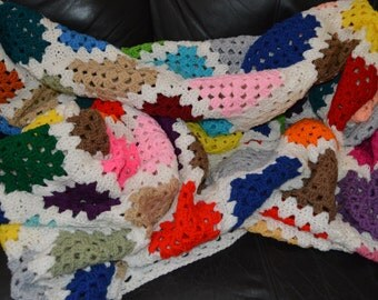 Large Granny Square Afghan with Soft White Border