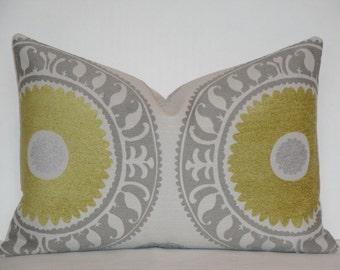 Decorative Pillow Cover / Suzani / Citrine / Grey / Taupe / Throw Pillow / Accent Pillow / Lumbar Pillow / Toss Pillow