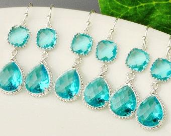 15% OFF SET OF 6 Bridesmaid Jewelry - Sea Green Earrings - Blue Silver Drop Earrings - Teal Blue Green Bridesmaid Earrings - Wedding Jewelry