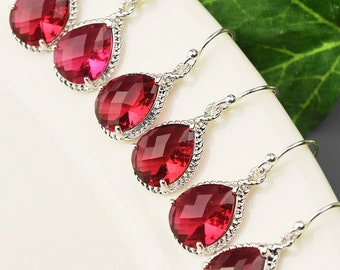 Bridesmaid Earrings Set of 6 Crystal Teardrop Earrings  - Red Earrings - Bridesmaids Jewelry Set - Bridesmaid Gifts - Bridal Party Gifts